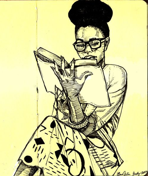 Image result for black woman reading drawing