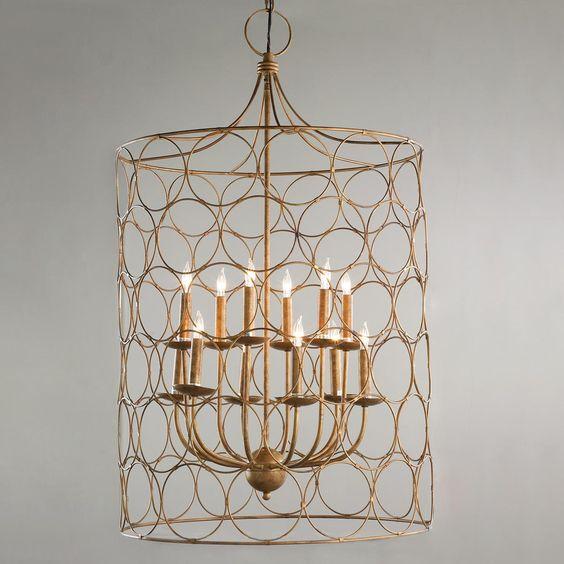Large Round Edwardian Foyer Lantern : Circle cage candles chandelier circles