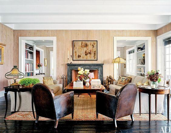 The inviting living room at Sandy Gallin's Amagansett, New York residence.