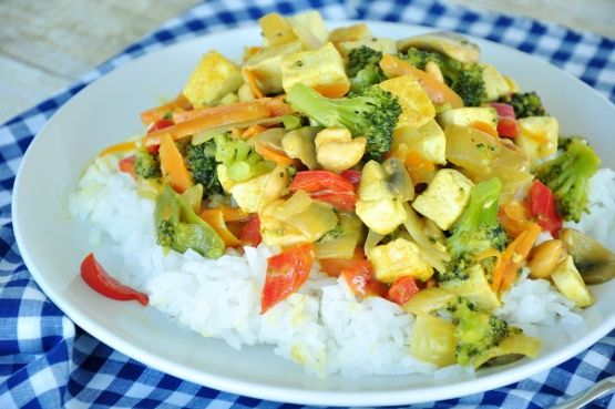 Tried it.  copycat recipe coconut curry vegetables from PF Changs China Bistro. Doubled the sauce.  Used Garam masala instead of curry.  Put some lemongrass in with the veggies.