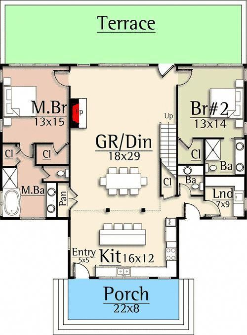 Dream Home 3 Bed Country House Plan With Detached Garage 18874ck Floor Plan Main Level Countryhomedecoration House Floor Plans House Plans Floor Plans