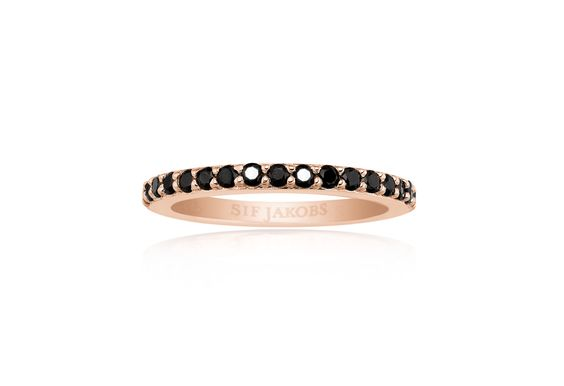Corte Ring rose gold plated with black zirconia stones.