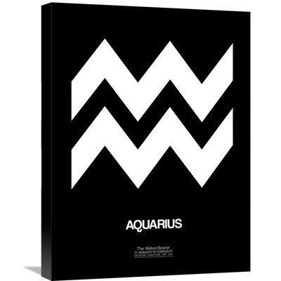 Naxart 'Aquarius Zodiac Sign' Graphic Art on Wrapped Canvas in White Size: