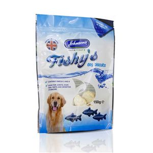 JVP Fishy s Dog Biscuits 150g The treats are manufactured in Britain in a DEFRA approved factory made from fresh fish responsibly sourced in Grimsby.