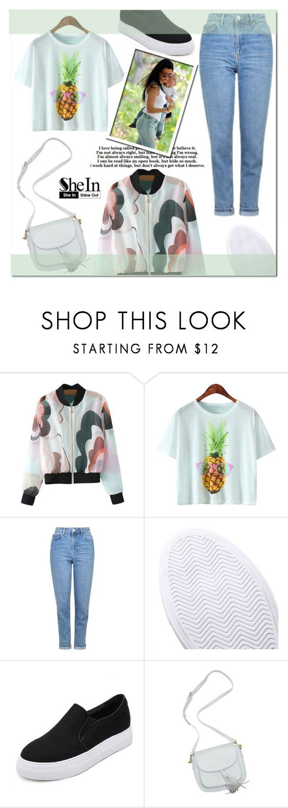 """""""SheIn 2"""" by mini-kitty ❤ liked on Polyvore featuring Ananas, Topshop and shein"""