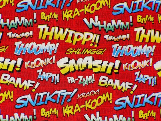 Marvel Comic Action Words Fabric by the by CutiePieCraftSupply