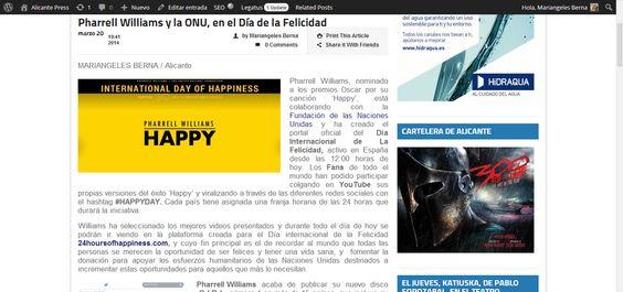 Pharrell Williams y la ONU, en el Día de la Felicidad | Alicante Press #happyday #ONU