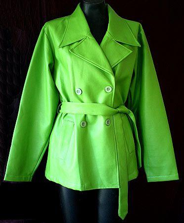 Eco fashion – lime green vintage pleather jacket - stylish piece