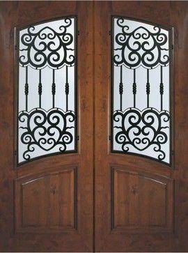 Slab Exterior Double Door 96 Alder Barcelona Arch Lite Wrought Iron mediterranean-front-doors