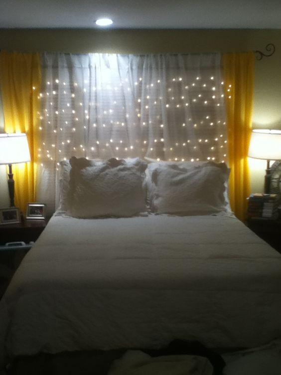 Curtains Ideas christmas curtain fabric : Headboard under $20! Shutters, Christmas lights, curtain rod ...