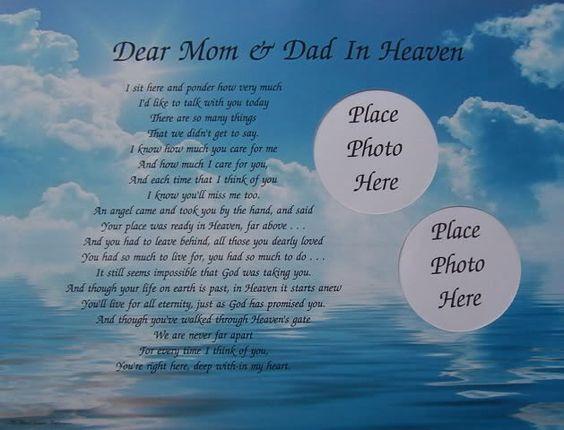DEAR MOM & DAD IN HEAVEN POEM MEMORIAL VERSE IN MEMORY in Collectibles | eBay
