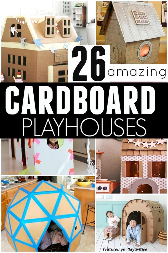 Lots of fun ideas for making cardboard play houses (and great re-use of any boxes you have lying around).