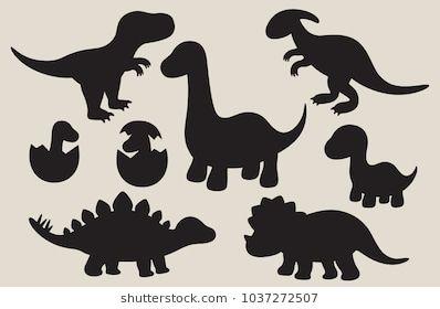 Vector Illustration Of Dinosaur Silhouette Including Stegosaurus