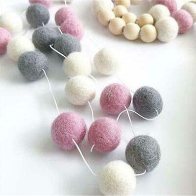 30Pcs Handmade Wool Felt Balls Garland Pom Pom Hanging String Crafts Home Decor