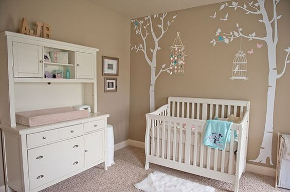 Tan Nursery with Aqua and Pink Accents | The Little Umbrella