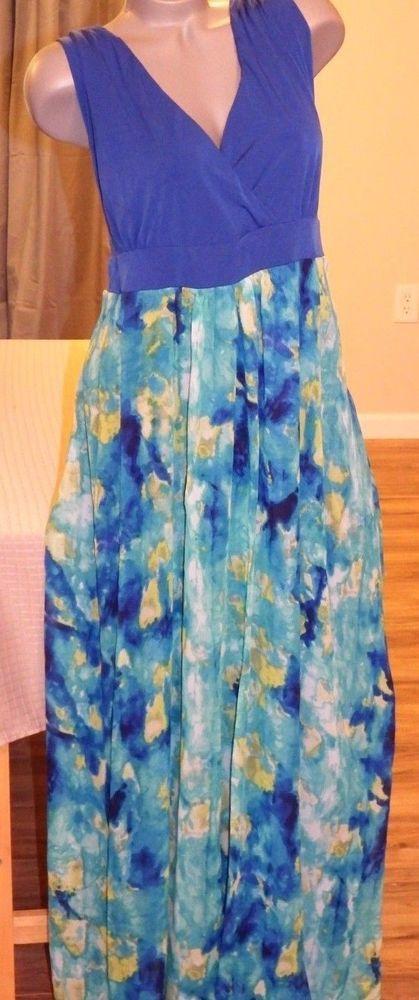 Sz 2X Maxi Dress Plus Size Poppy & Bloom First Impressionist Chiffon Silky…