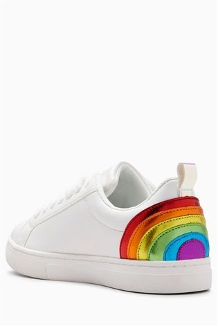 White Rainbow Lace-Up Trainers (Older