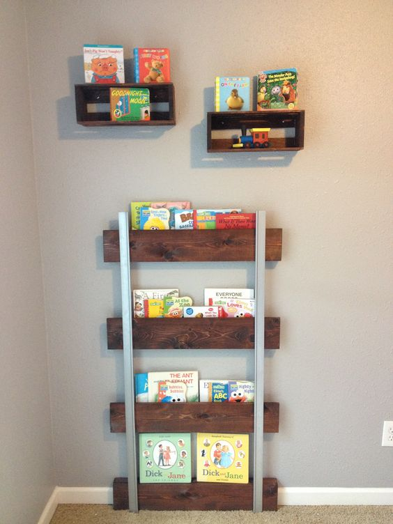 Railroad track bookshelf. Great addition for my sons train themed room .