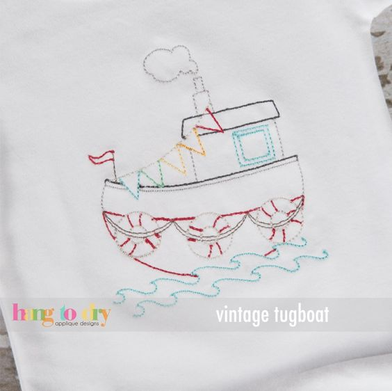 Hang to Dry Applique - Vintage Tugboat, $3.99 (http://www.hangtodryapplique.com/vintage-tugboat/)