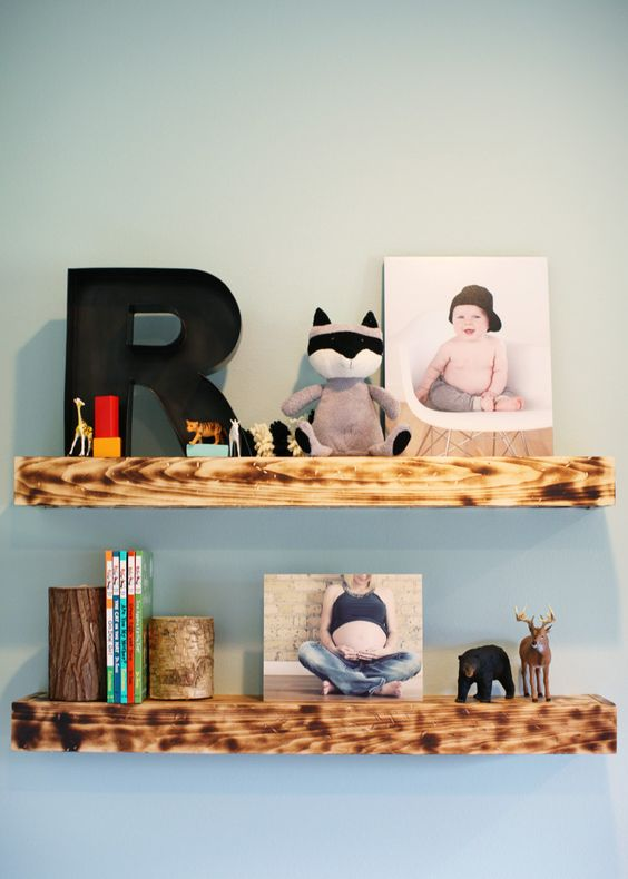 DIY Wooden Bookshelves - perfectly styled! #nursery #nurserydecor: Bookends, Book Ledge, Baby Room, Kid