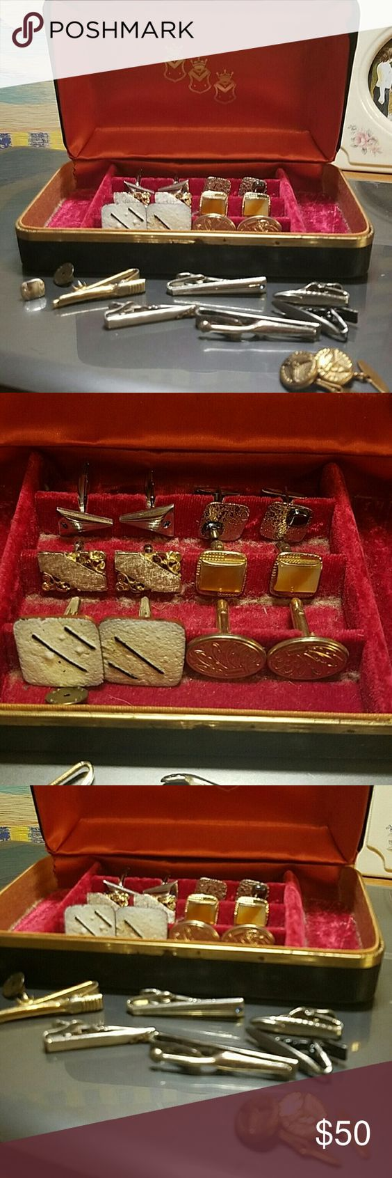 Jewelry Box With Vintage Cufflinks & Tie Tacs Gorgeous condition for age.  Moat are unmarked. A couple are SWANK. These are so awesome.  Travel case is included. SWANK Jewelry