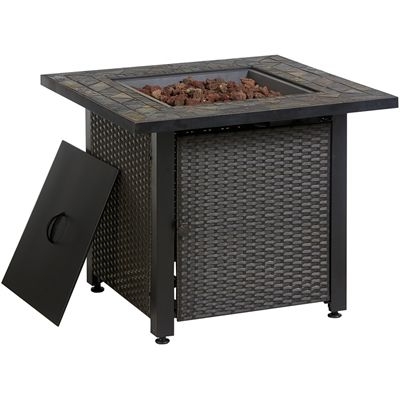 Endless Summer Gas Fire Table With Wicker Sides Propane
