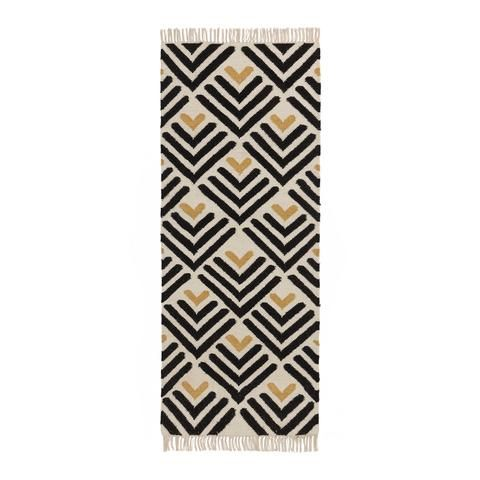 Caen Runner Black Bright Mustard Natural White Traditional Tapestries Cotton Rug Dhurrie Rugs