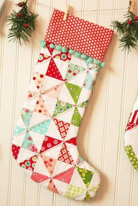 adorable pinwheel pattern stocking - love the pom pom trim