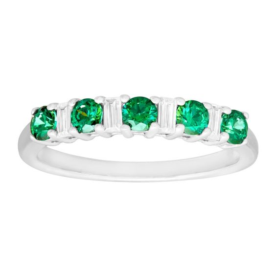 Band Ring with White & Green Swarovski Zirconia in Sterling Silver