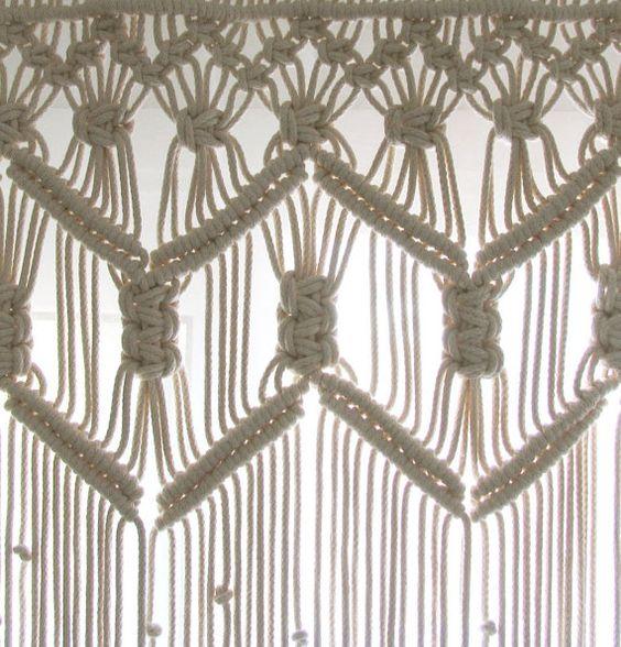 Custom Kitchen Macrame Curtains Bohemian Short by KnotSquared