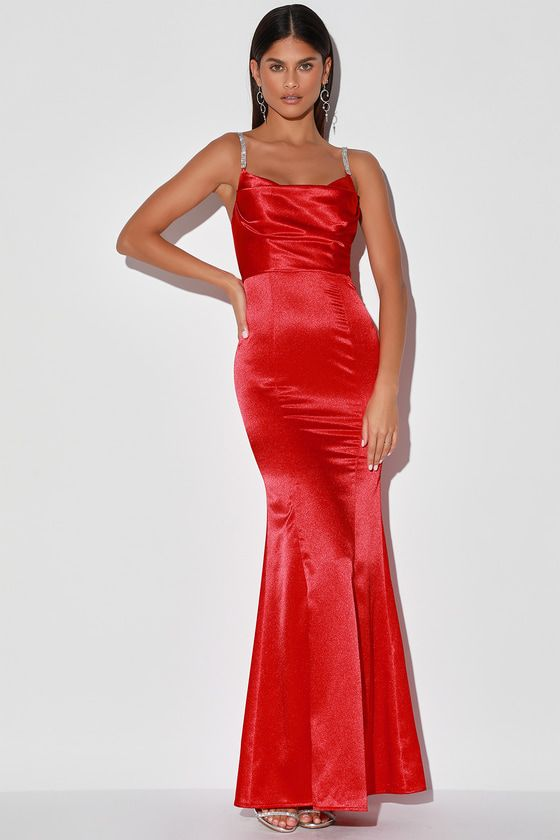 Luxe Take Red Satin Rhinestone Cowl Neck Maxi Dress In 2020 Women Dress Online Red Dress Maxi Womens Dresses