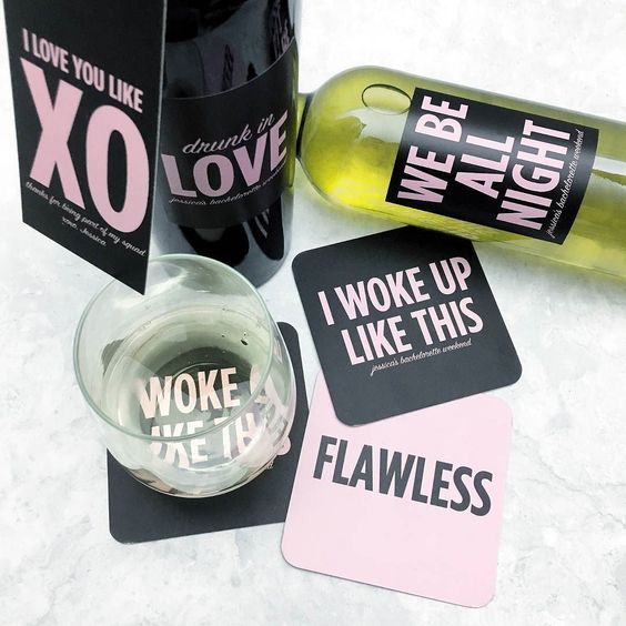 We LOVE the custom tags labels and coasters from @CrushTag! The  perfect way to add a layer of personalization to your bachelorette party bridal shower or wedding day! Visit CrushTag.com!