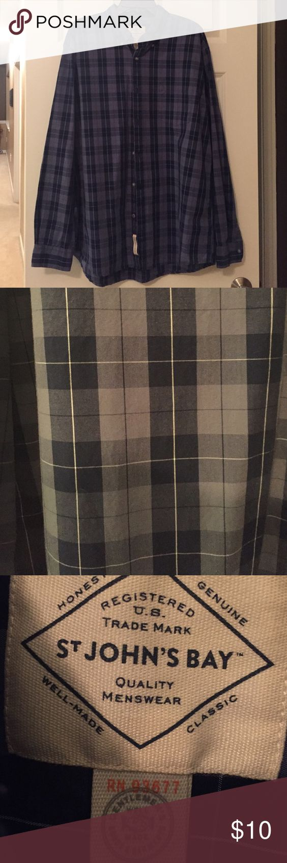 Men's plaid shirt Gray and blue soft plaid long sleeve shirt . st johns bay Shirts Casual Button Down Shirts