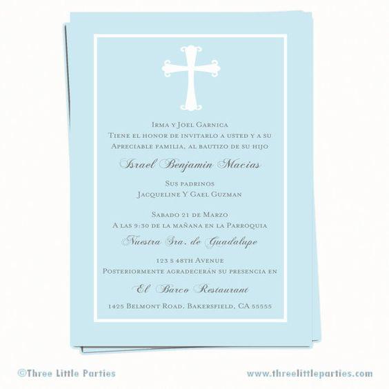 Baptism Invitation Invitacion de Bautizo en by ThreeLittleParties