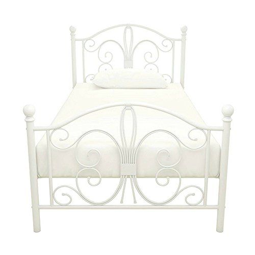 Metal Platform Bed Frame Twin Size Steel Headboard Footboard White Scroll Home Child S Or Second Bedr Metal Platform Bed Twin Bed Frame Headboard And Footboard