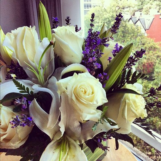 Roses, lilies & lavender. So fragrant.  Photo by isalara