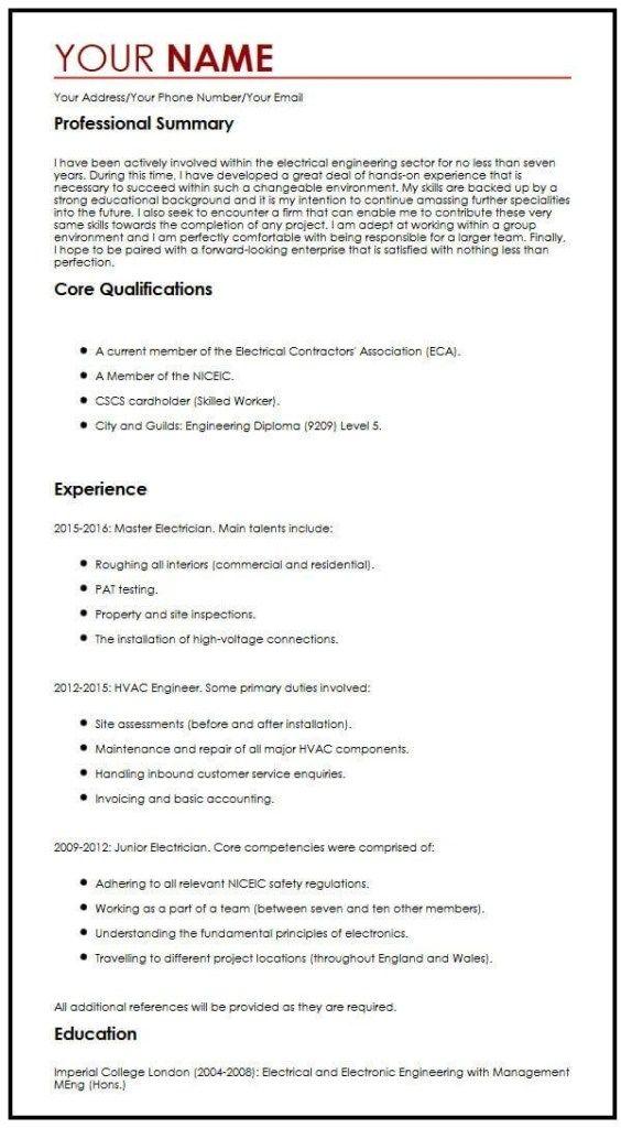 Free Cv Example Myperfectcv Create A Cv Cv Template Free Resume Examples
