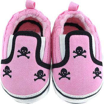 Pink & Black Skull Slip On Baby Shoes
