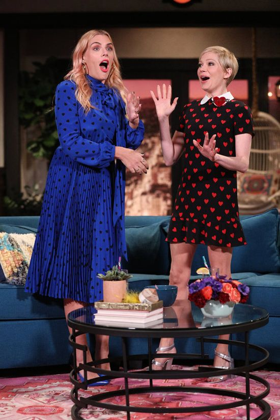 "Michelle Williams on ""Busy Tonight"" in RED Valentino 