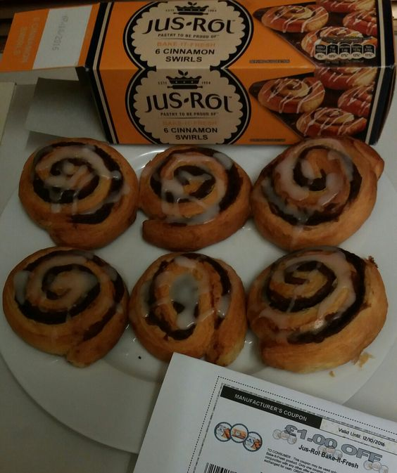 Six freshly baked cinnamon swirls for 50p! The Jus-Rol Bake It Fresh range currently £1.50 at Asda, and there's a  £1.00 off coupon online that you can use.