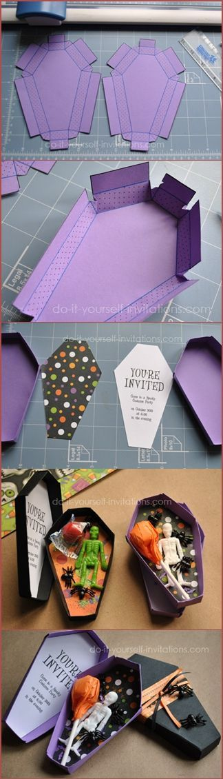 Make this coffin Halloween invitation for a spooky start to the party!