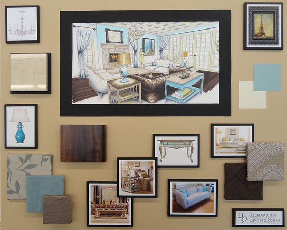 Sample board example from a decorator what one might look - Interior design sample board software ...