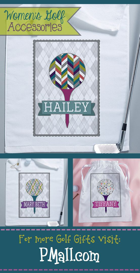 I LOVE LOVE LOVE the colorful patterns on these golf designs! I totally want this golf towel and golf shoe bag! This site has the cutest personalized Women's Golf Accessories and Gifts! #Golf #GolfGifts #LadiesGolf #GolfAccessories