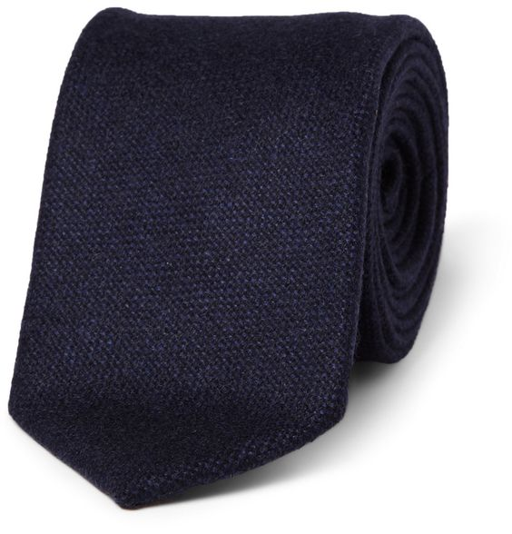 navy woven-cashmere tie by drake's