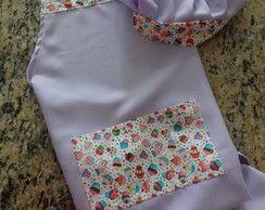 Kit Avental + touca para cozinha lilás
