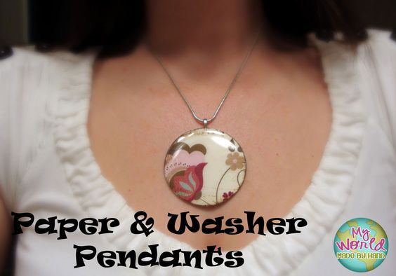 How to make pendants from paper and washers {{version one}}