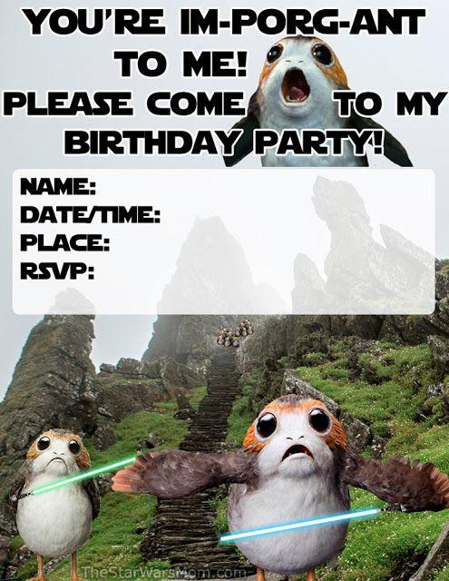 Porg Birthday Party Invitation Star Wars Porgs Star Wars Puns Star Wars Jokes Star Wars Gifts