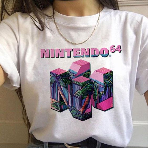 Vaporwave Aesthetic 90s Fashion T Shirts Women Harajuku Ullzang T-shirts Graphic Funny Cartoon Tshirt Streetwear Top Tees Female, 7541 / M