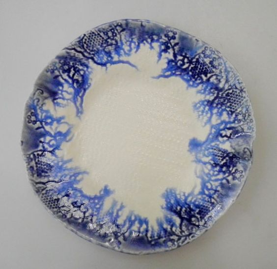 Blue and White Pottery plate, Blue and White Ceramic, By Clayshapes