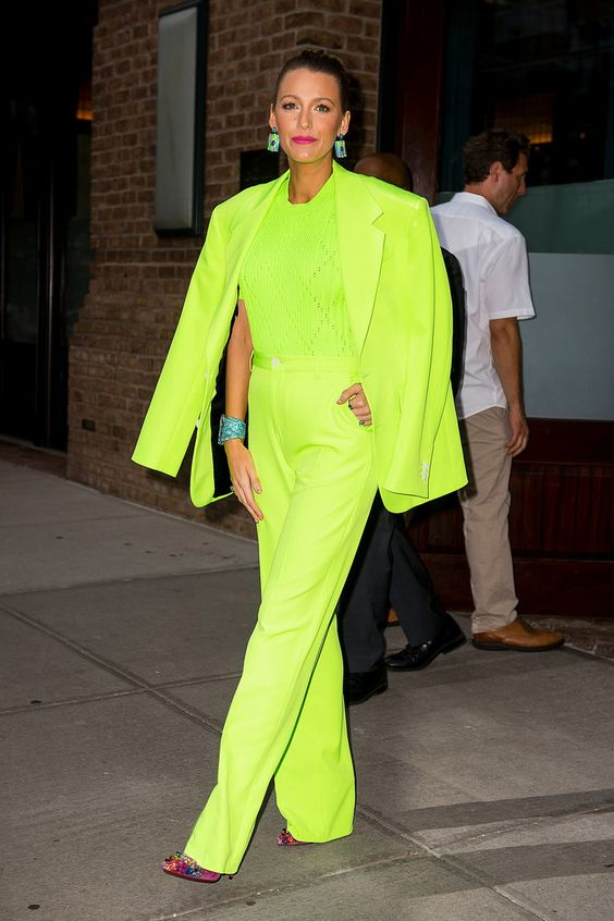 Blake Lively Pulls Off the Trickiest Color Known to Woman | Blake not only wore the lime green suit with confidence, she also dared to pair it with equally bright accessories.